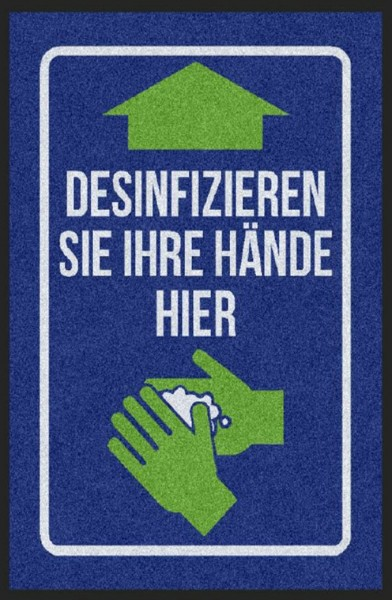 Hochwertige Schmutzfangmatte mit Hinweis zum Händedesinfizieren - 60 x 85 cm